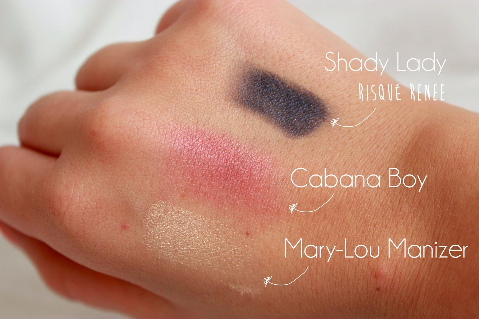 Swatch The Balm Shady Lady, Cabana Boy, Marylou Manizer