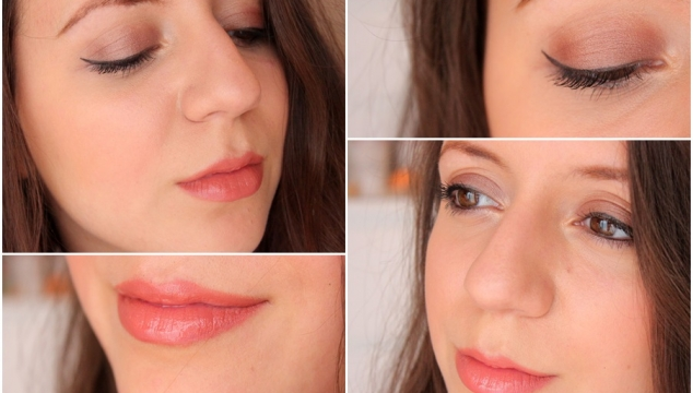Bronze eyes and peachy lips Makeup