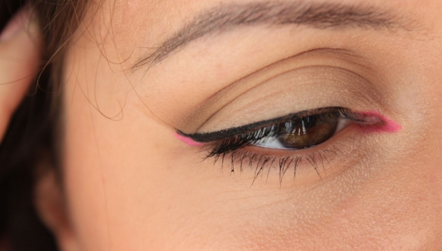 Pop of pink on the eyes