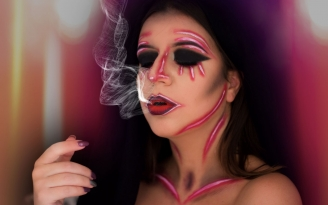 Halloween dark neon makeup